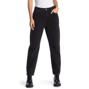 Free People Distressed Black High Rise Mom Jeans
